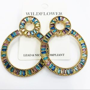 Multi-colored Rhinestone Circle Drop Earrings